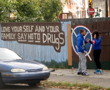 This mural lining McPhereson Square Park, known colloquially as Needle Park, does little to deter addicts and dealers from using the area for nefarious activity.