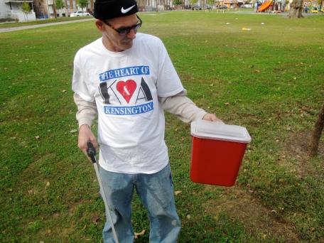 Teddy Hackett, who spent time as a child playing in Needle Park, now volunteers there every day picking up used hypodermic needles before the children arrive.
