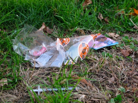 Used hypodermic needles lay discarded near to where children play in McPhereson Square Park.