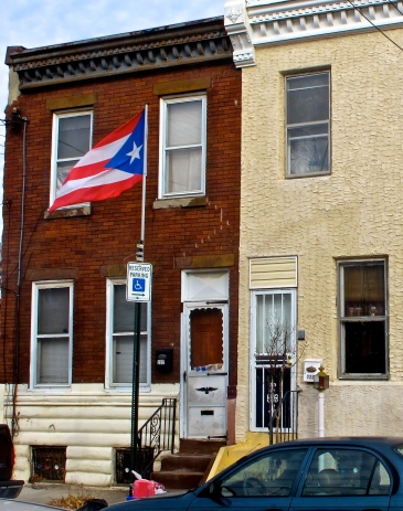 Puerto Rican flags decorate the streets of Kensington where many immigrant families have made their new homes.