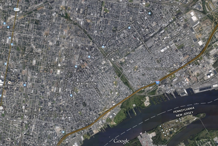 View of Kensington, Philadelphia from Google Earth.