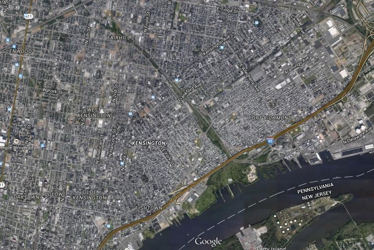 View of Kensington, Philadelphia from Google Earth.